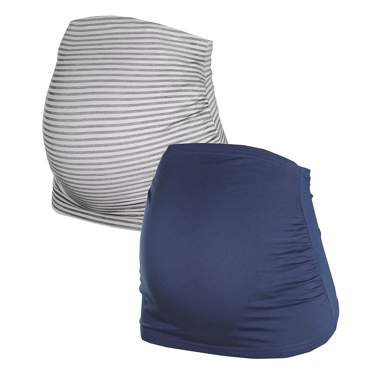 Herzmutter Bandeau de grossesse en Double paquet de en Noir, Blu, Gris et Gris-Rayé (6000)