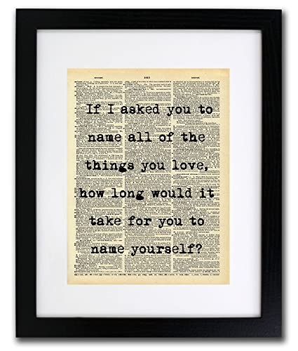 Amazon Name The Things You Love Quote Dictionary Art Print