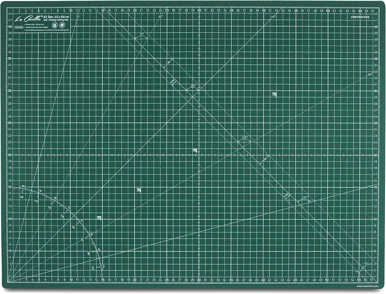 La Canilla ® - Base de Corte Autocicatricante Patchwork A2 (60x45cm) Centímetros y Pulgadas con Cuadrícula Cutting Mat de 5 capas para Costura y Manualidades - Alfombrilla de Corte Profesional (Verde)