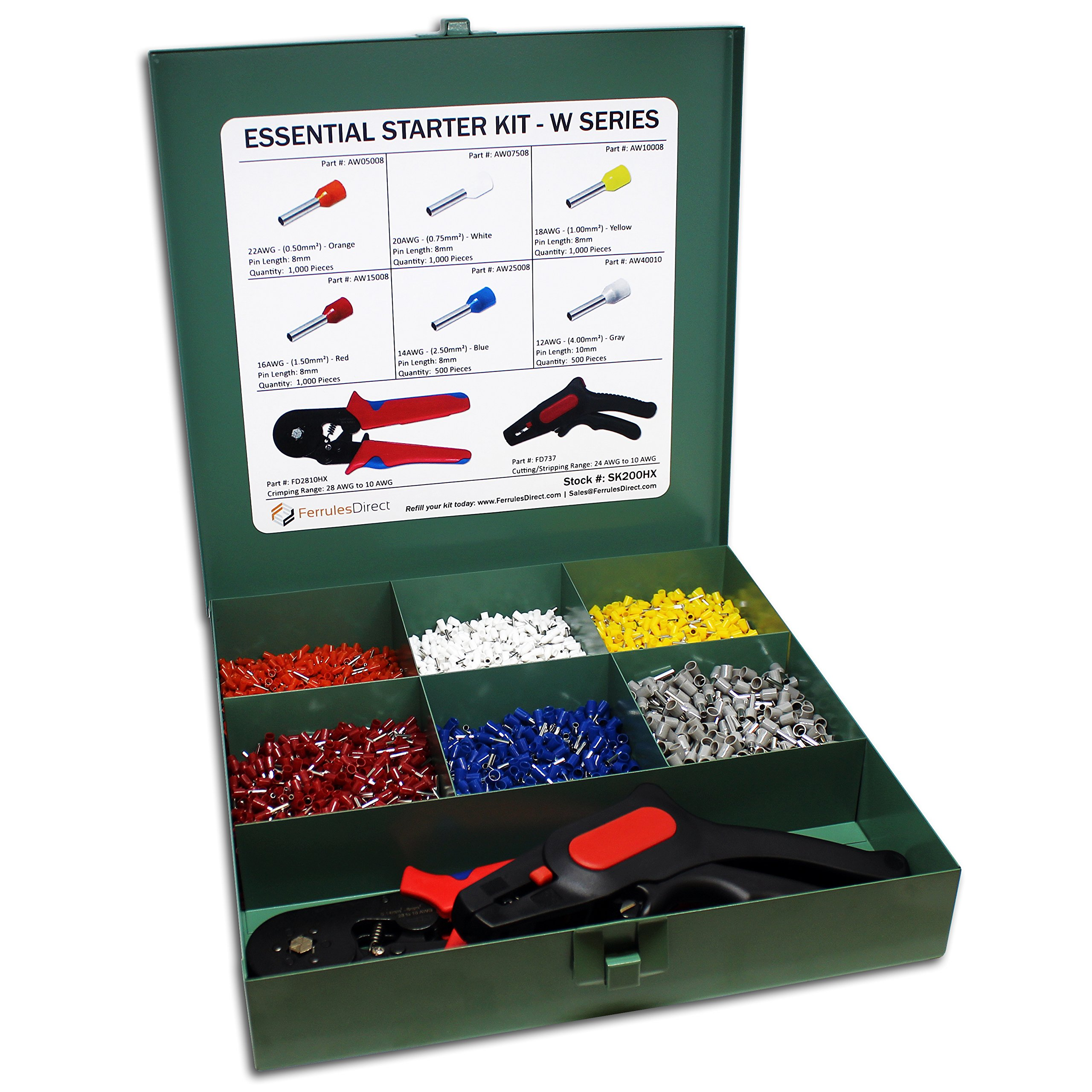5000 Piece Wire Ferrules Essential Kit with Hexagonal Profile Crimping Tool and Cutting/Stripping Tool-22 AWG to 12 AWG Insulated Connectors-SK200HX