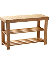 Shoe Rack Bamboo Shoe Bench 2 Tier Seat Shoe Shelf Holder Storage Organizer  For Closet