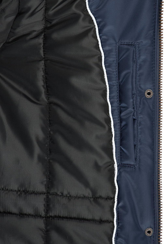 BlendShe EDA Women's Parka Outdoor Jacket Winter Coat with Fur Hood Navy