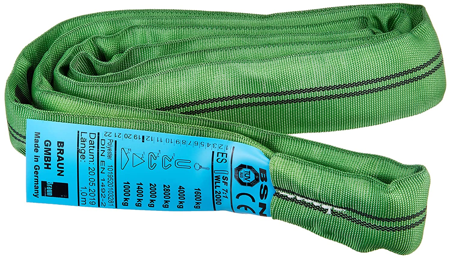 Braun 20011RS recupero strap loop carico 2000/kg 1/m continuo con nucleo in poliestere verde