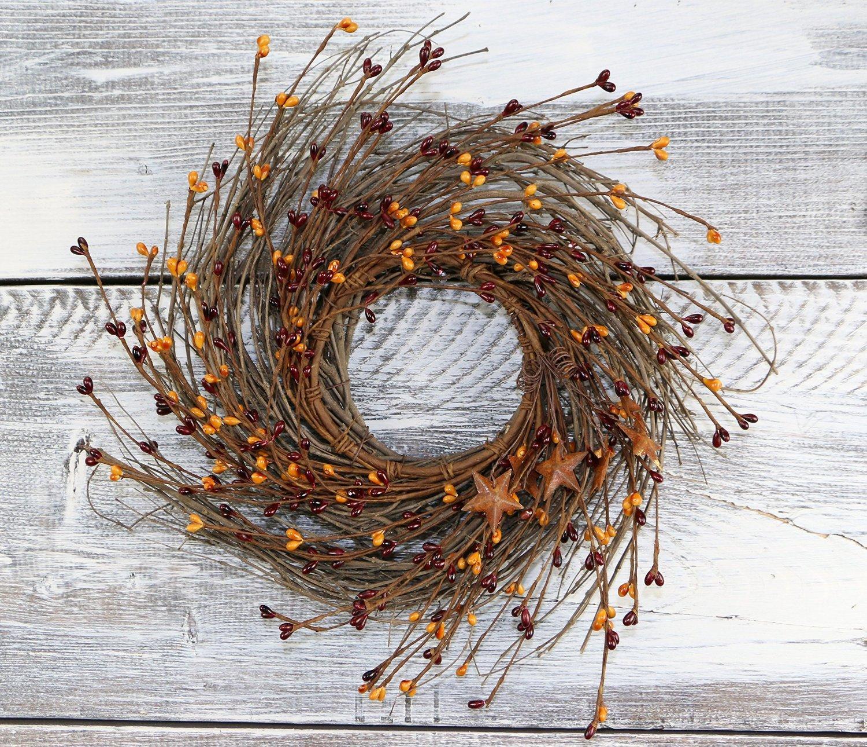 Pip Berry, Twig, & Star Wreath, 12'' - Burgundy & Gold