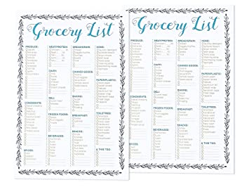 Set Of 2 50 Sheet Grocery Lists Notepads   Shopping List Organizer Magnet  Pad (  Grocery List Organizer Template