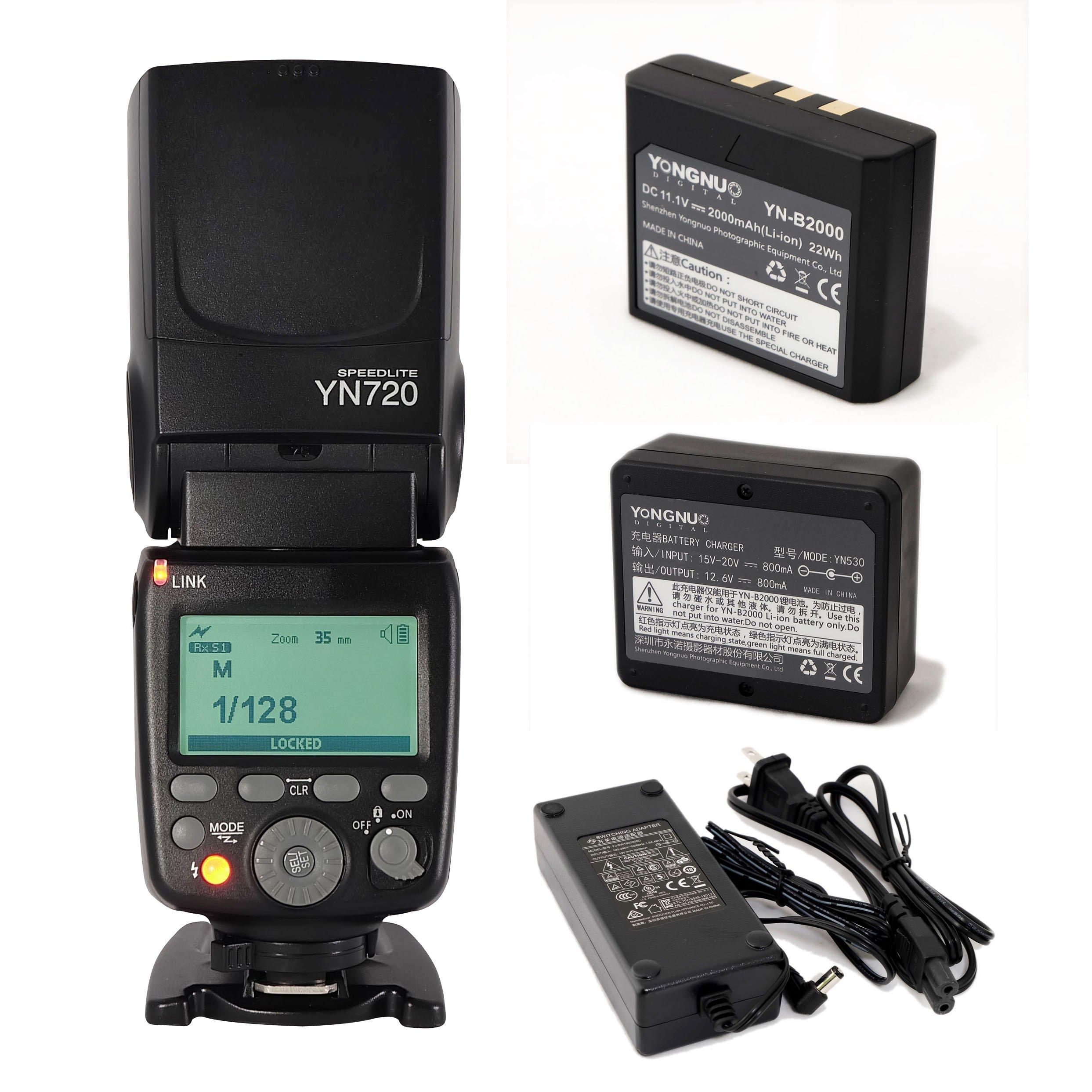 YONGNUO YN720 Lithum Battery Wireless Flash Speedlite GN60 2.4G Wireless Radio Master+ Slave for Canon Nikon Pentax