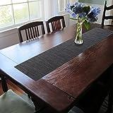 Texture Design Woven PVC Rectangular Heat Insulation Texteline Table Runner (Black)