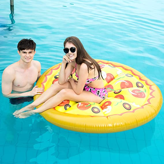 Amazon.com: JOYIN Flotador de piscina de pizza hinchable ...