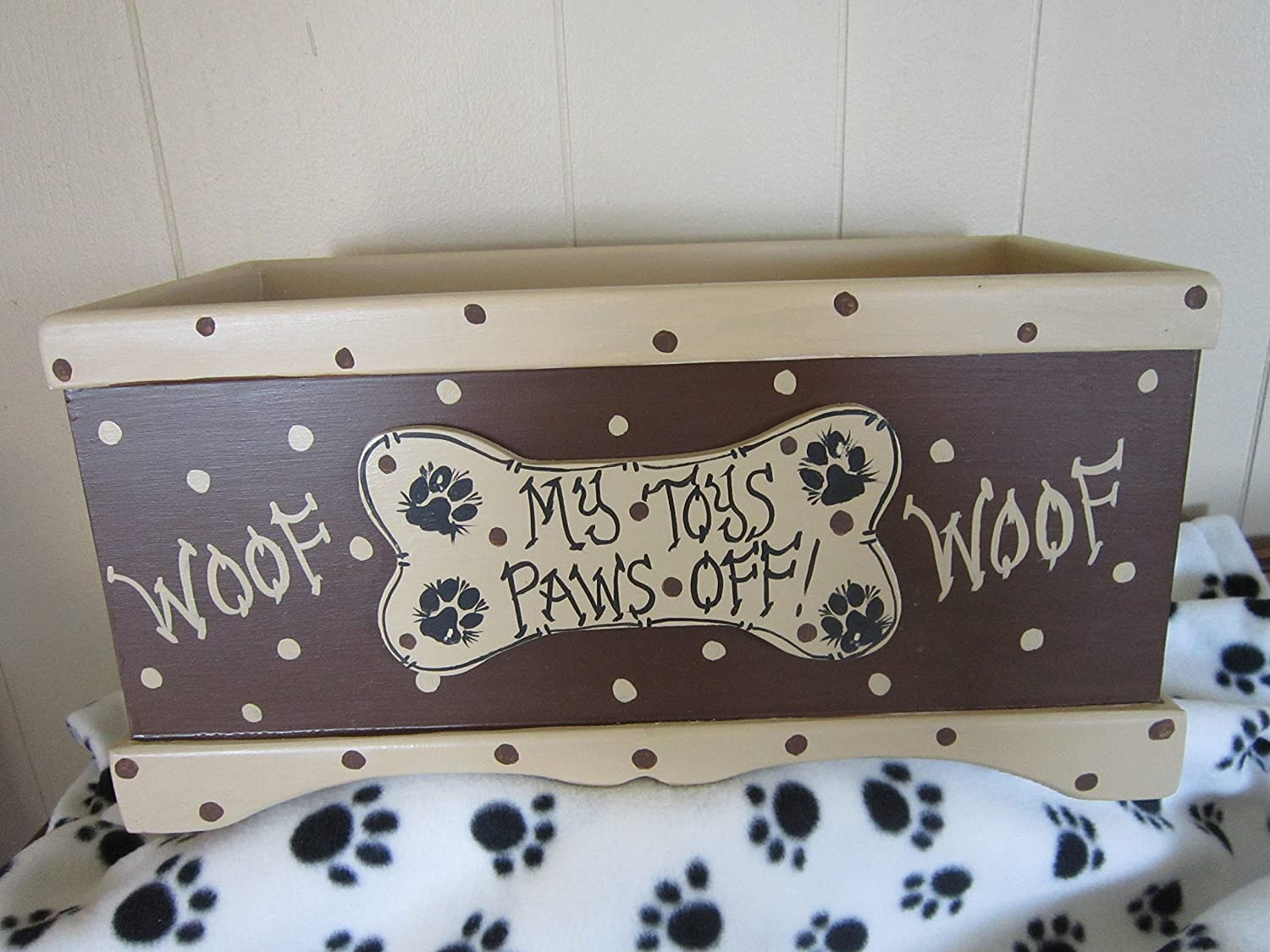 FREE SHIPPING! Handmade and Hand Painted Wood Toy Box.Personalize Free!Gift,New Puppy.