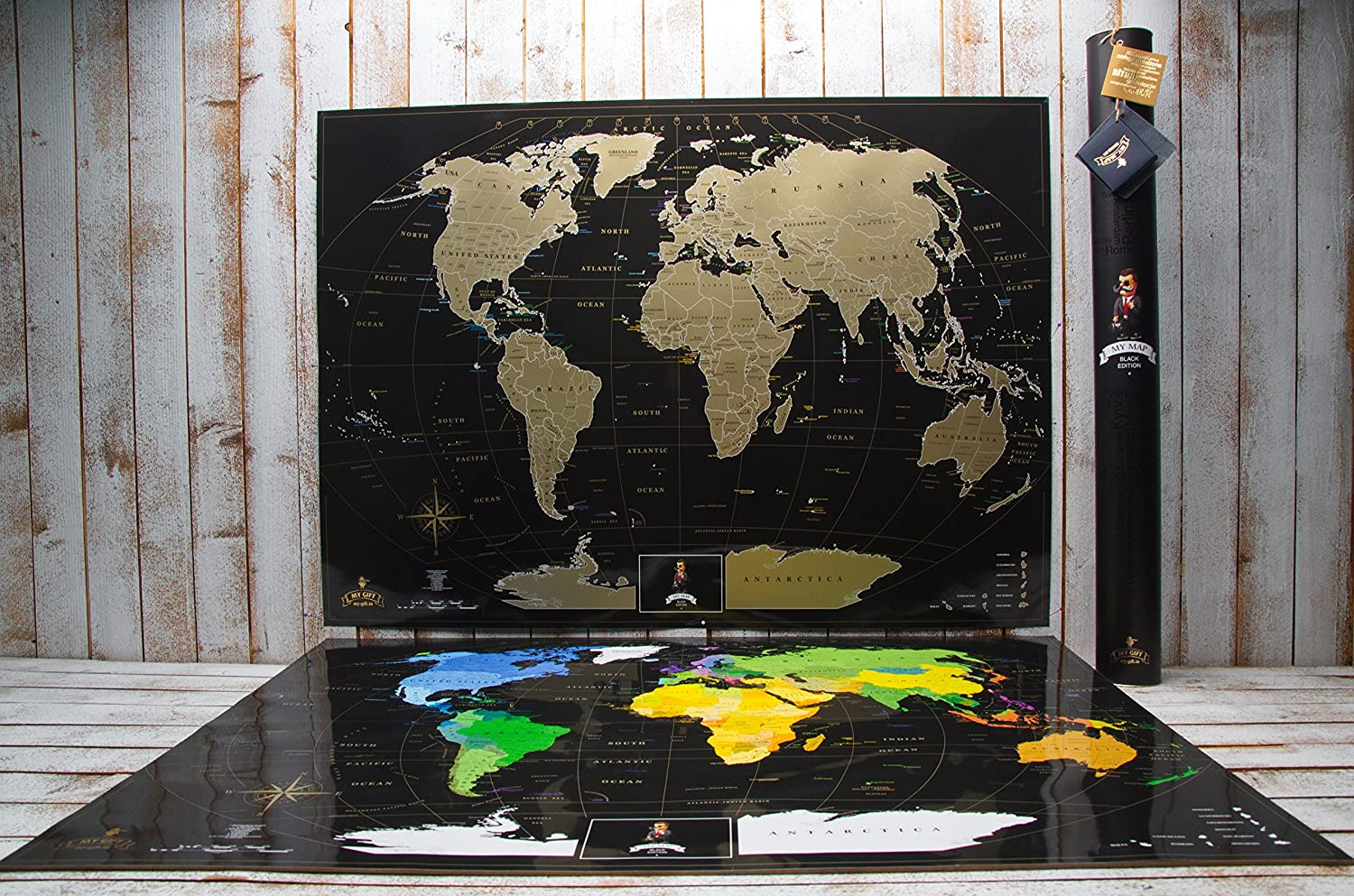 2464ab4606 Includes Pins MyMap Gold Scratch Off World Map Wall Poster with US States  Black with Vibrant ...