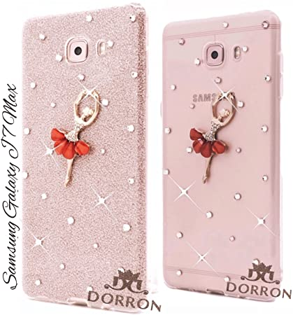 low priced bbba7 5f6f7 DORRON Dancing Girl Rhinestones Glitter TPU Back Cover for Samsung Galaxy  J7Max (Rose Red)
