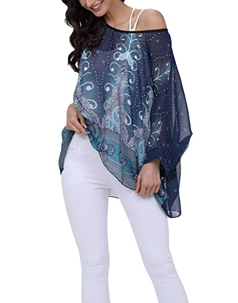 1583da639a iNewbetter Womens Casual Boho Tops Fashion Floral Batwing Sleeve Loose Fit  Chiffon Blouse 295 One Size
