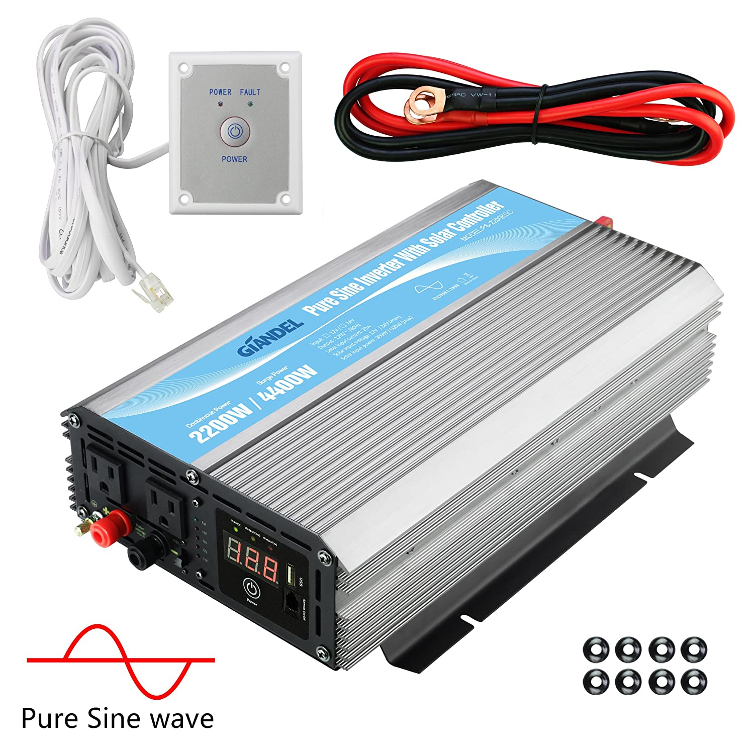 GIANDEL 2200W Pure Sine Wave Power Inverter 12V DC to 120V AC with 20A Solar Charge Control and Remote Control LED Display and Dual AC Outlets 1×2.4A USB Port for RV Truck Car Solar System