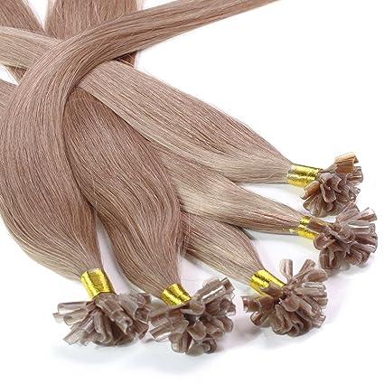 Hair2Heart 50 x 1g Extensiones de Queratina - 60cm - Liso, Color 10 Marrón Cenizo
