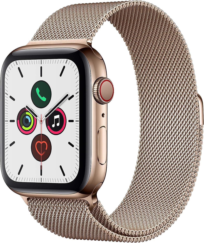 Apple Watch Series 5(GPS + Cellularモデル)44mmゴールドステンレススチールケースとゴールドミラネーゼループ