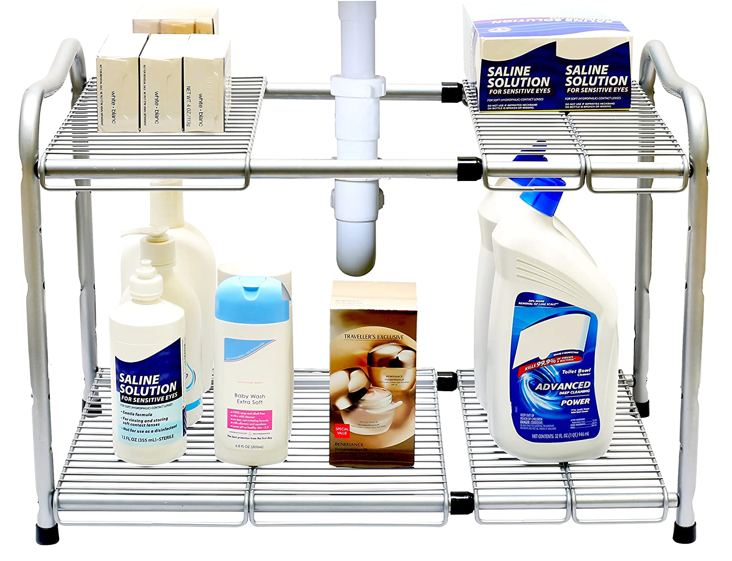 Under Kitchen Sink Organizing Amazoncom Decobros Under Sink 2 Tier Expandable Shelf Organizer