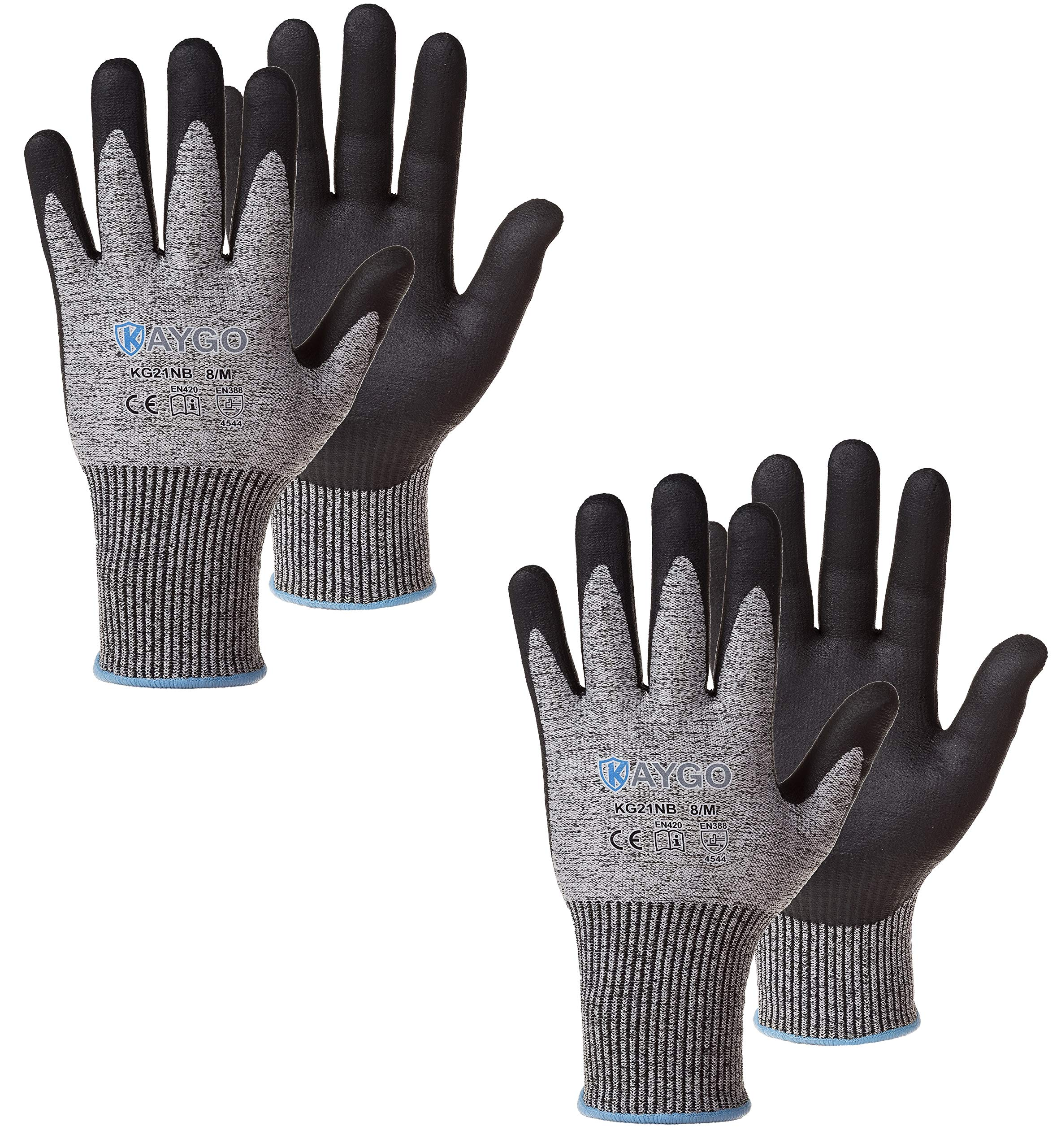 Cut Resistant Work Gloves MicroFoam Nitrile Coated-2 Pairs,KAYGO KG21NB, High Cut Level 5,Superior GRIP Performance,Wrapped for Vending,Ideal for General Duty Work