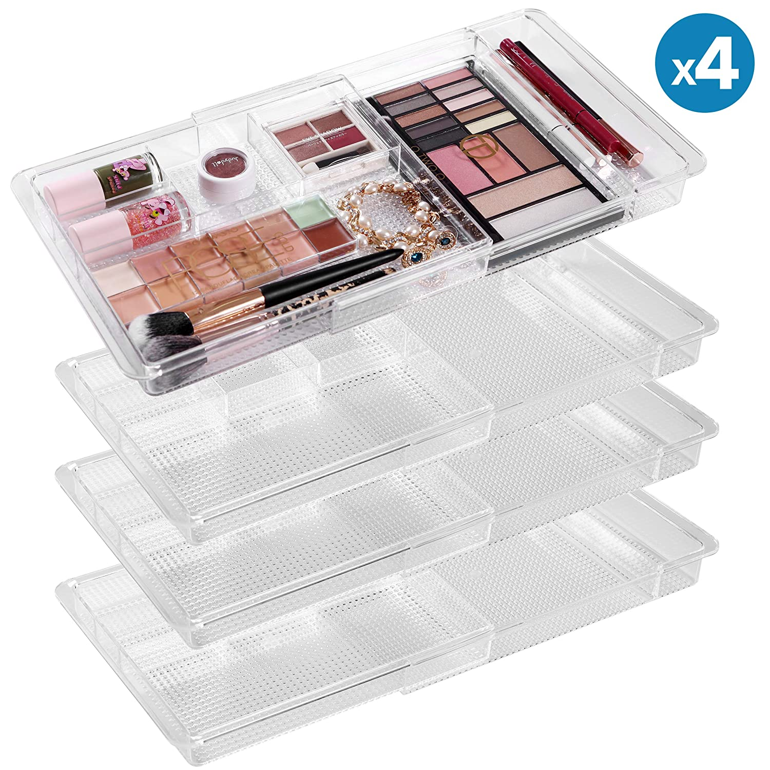 MoMA Expandable Makeup Organizer – 11 x 7.7 x 1.2 Adjustable Makeup Brush Organizer 4 Packs – Clear Plastic Makeup Organizer for Bathroom Drawers, Vanities, Countertops – Scalable Cosmetic Organizer