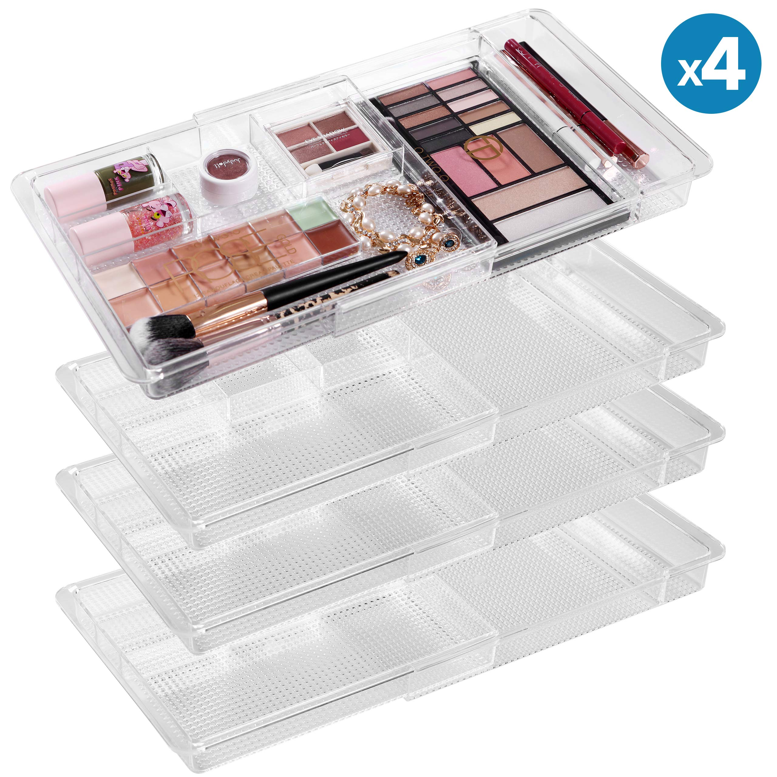 MoMA Expandable Makeup Organizer - 11''x 7.7''x 1.2''Adjustable Makeup Brush Organizer (4 Packs) - Clear Plastic Makeup Organizer for Bathroom Drawers, Vanities, Countertops - Scalable Cosmetics Organize