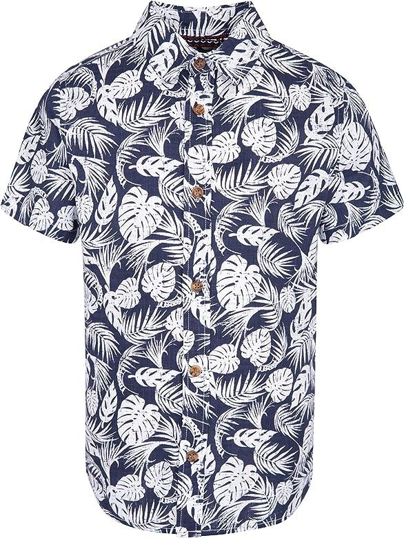 Mountain Warehouse Tropical Camisa para niños - 100% algodón, con protección UV, Camiseta veraniega Ligera y Transpirable - para Viajar, Acampar, IR de excursión Azul Marino 9-10 Años: Amazon.es: Ropa y accesorios