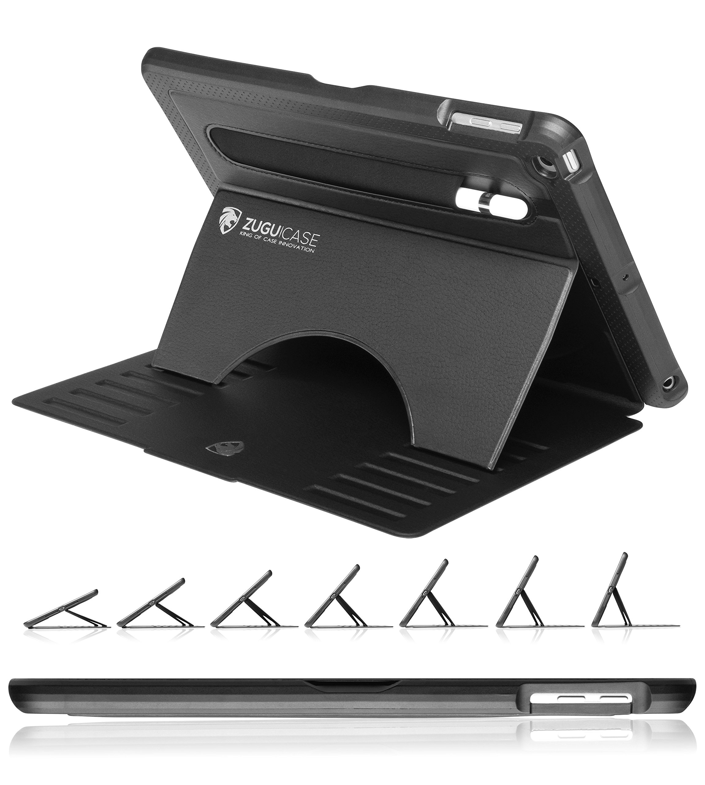 ZUGU CASE - 9.7 iPad 2018/2017 5th / 6th Gen & iPad Air 1 Prodigy X Case - Very Protective But Thin + Convenient Magnetic Stand + Sleep/Wake Cover (Black)