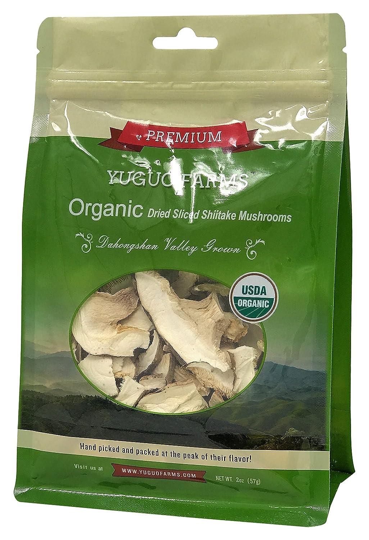 Yuguo Farms Dried Sliced Shiitake Mushrooms Certified USDA Organic, 100% Naturally Grown, NON-GMO, 2oz bag, 4 pack
