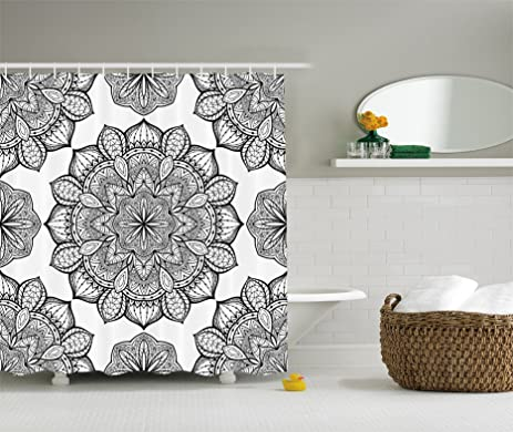 Mandala Shower Curtain Black And White Decor By Ambesonne, Hippie Celestial  Look Floral Pattern Oriental