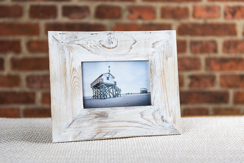 Bilderrahmen Altholz 10x15 cm weiß aus Holz von alter Obstkiste ...