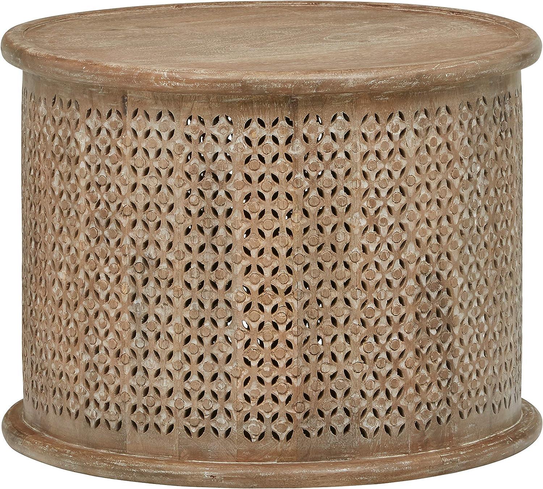 "Stone & Beam Commodore Casual Round Coffee Table, 23.6""W, Whitewash Mango Wood"