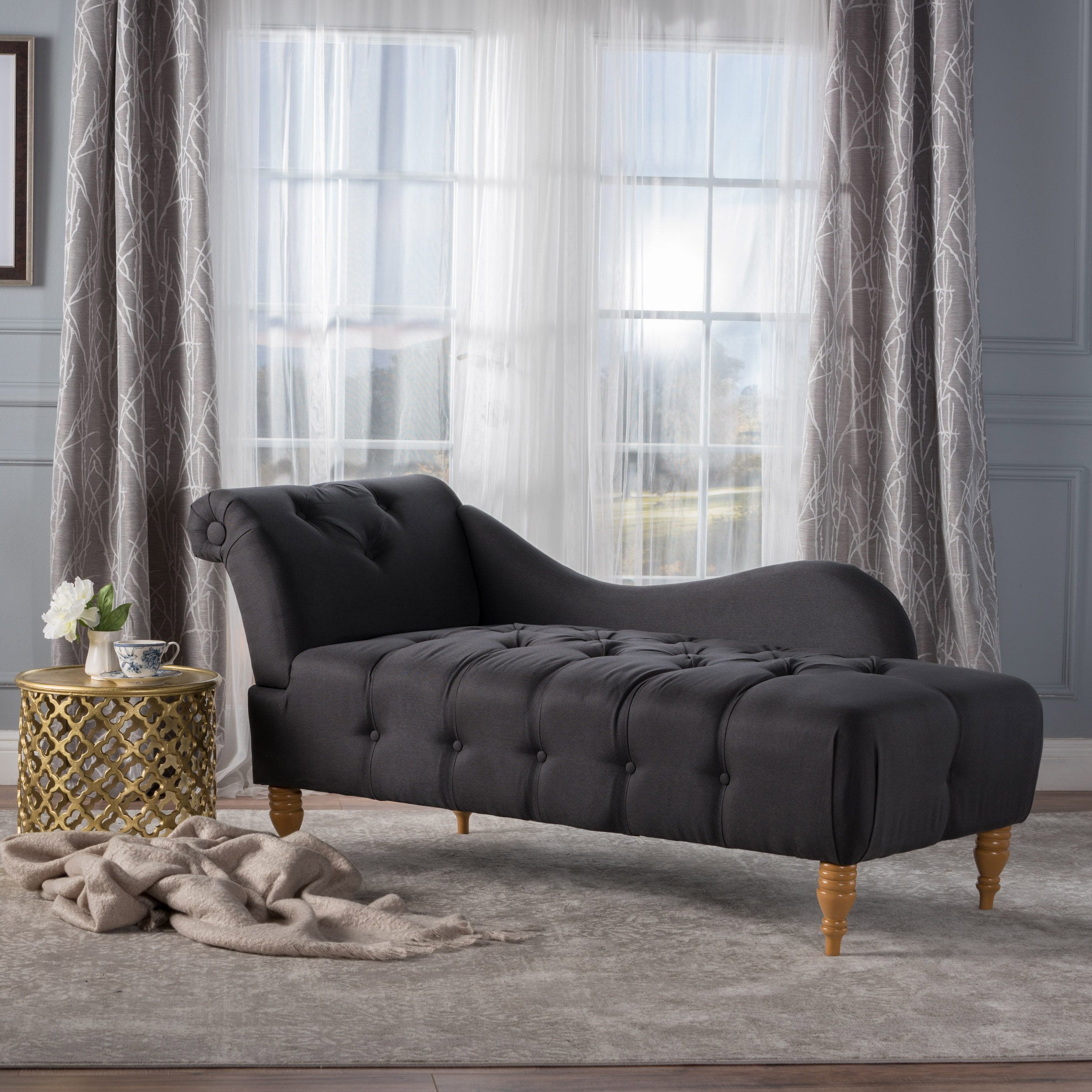 Christopher Knight Home Antonya Plush Tufted Traditional Chaise Lounge (Dark Charcoal Fabric) by Christopher Knight Home