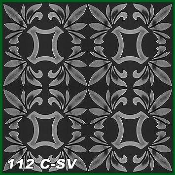 60 M² Deckenplatten Retro Deckengestaltung Schwarz Silber 50x50cm, Nr.112  C SV