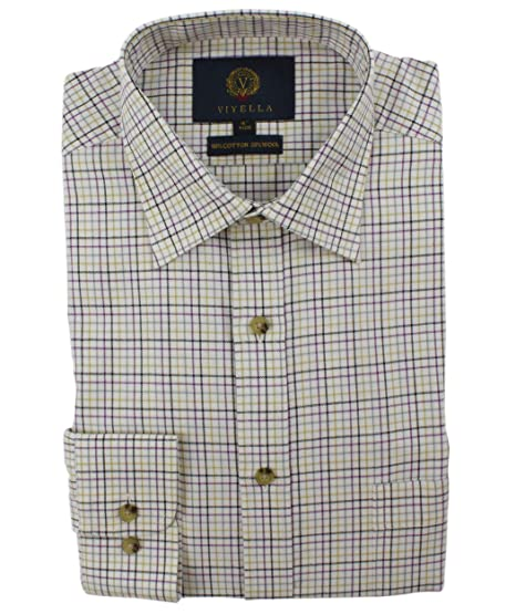 d5a919a489 Viyella Classic Purple Plaid Mini Tattersall Mens Cotton Wool Blend Shirt   Amazon.co.uk  Clothing