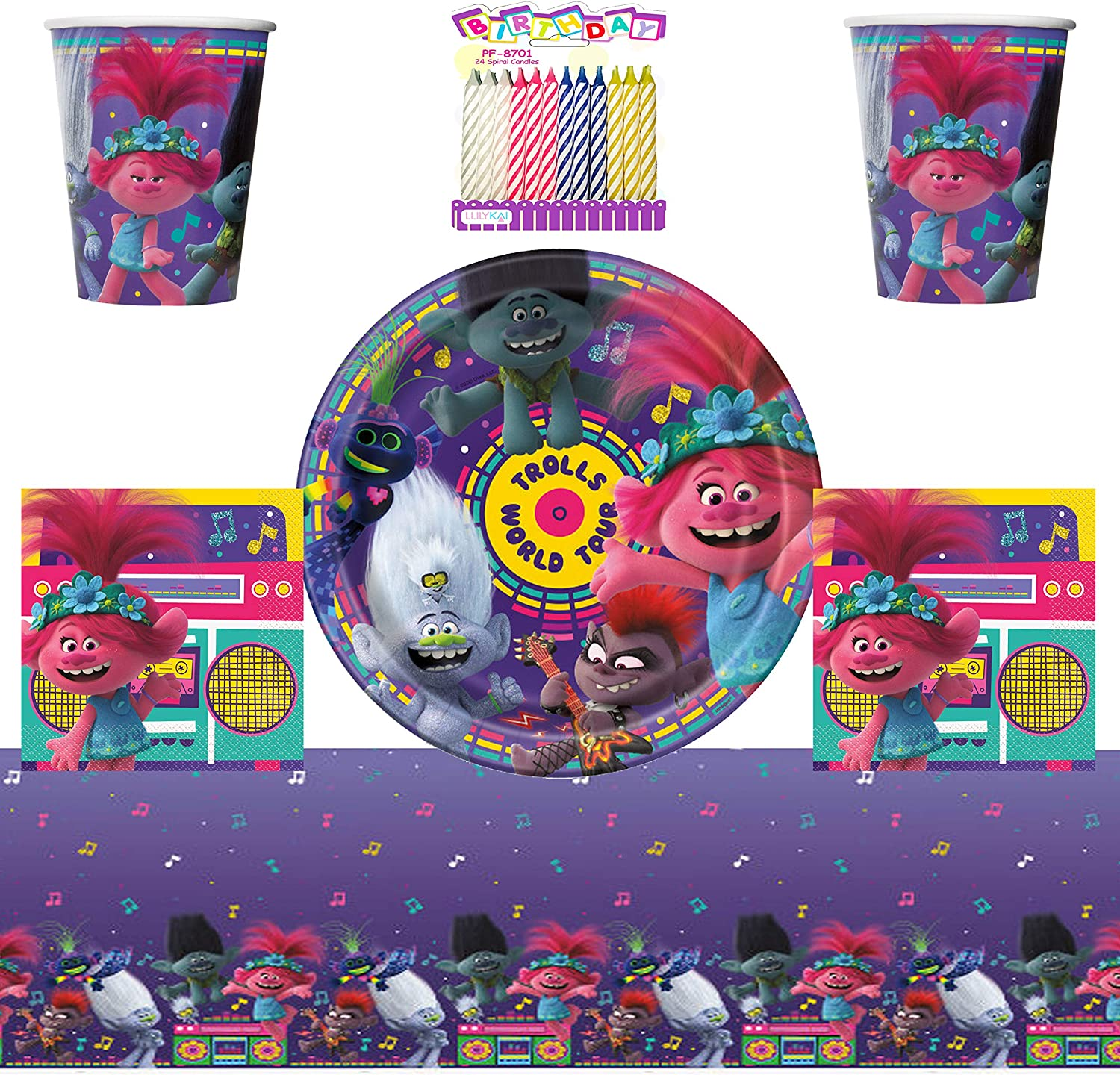 Plates Cups Napkins Table Game Decorations Trolls HOME Party Kit 4 x Guests