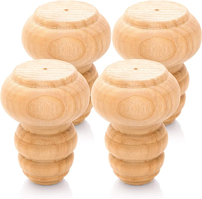 WOODINNO Furniture Legs Replacement for Mid Century Table Dresser, Desk, Couch, Chair Cabinet Sofa | Modern Tapered Round Bun Feet Set of 4 | Easy to Paint and Stain Ash Wooden Feets (3 inch)