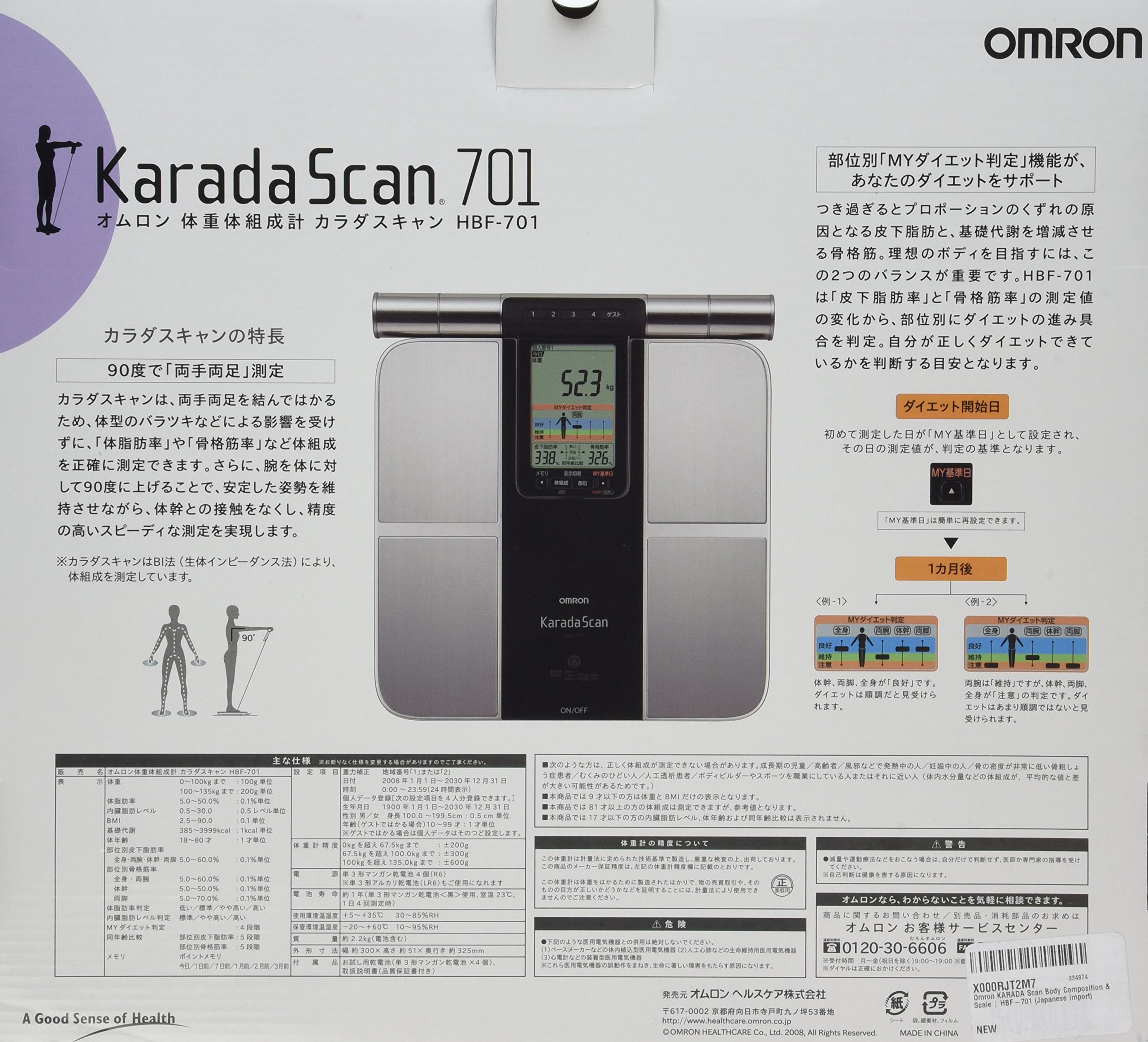 Omron KARADA Scan Body Composition & Scale   HBF-701 (Japanese Import)