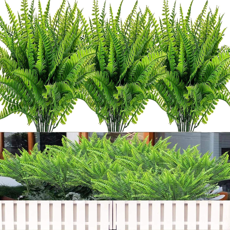 14 PCS Artificial Fake Greenery Ferns Plants, Fake Boston Fern Shrubs, Faux Outdoor UV Resistant , Greenery shrubs Indoor Outdoor Hanging Planter Office Home Garden Decoration (Green, 14)