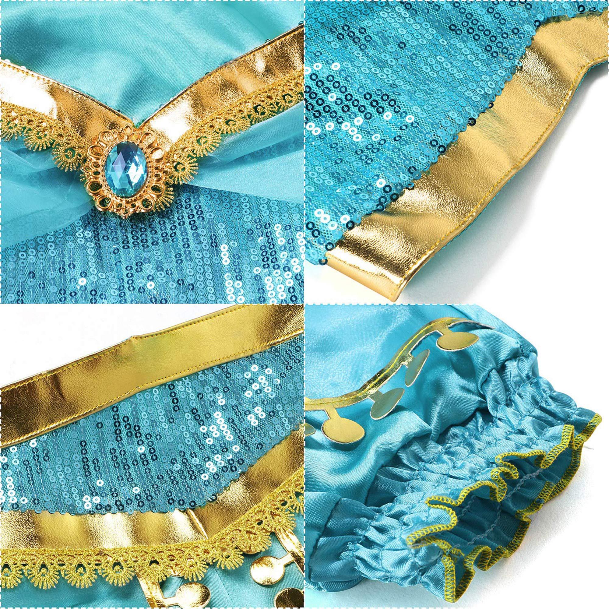SZ-TONDA Girls Princess Costume Dress Halloween Party Arabian Cosplay Teal /& Gold Outfit for Kid Child Teen