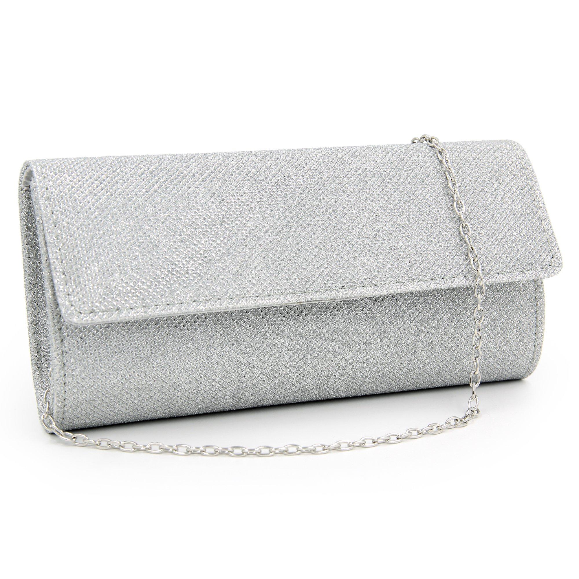 Women Clutches Glitter Evening Bags Party Clutch Purse (silver)