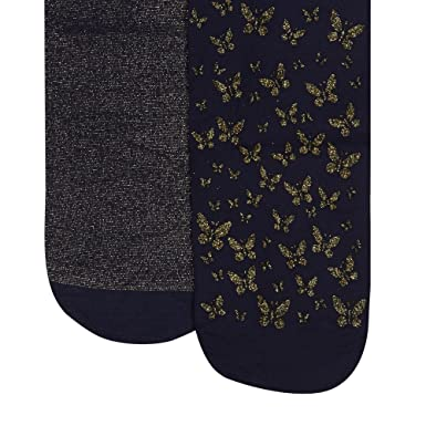 cbd5c3e80902a Debenhams Pack of Two Girl's Navy and Gold Glitter Butterfly Tights Age  10-12