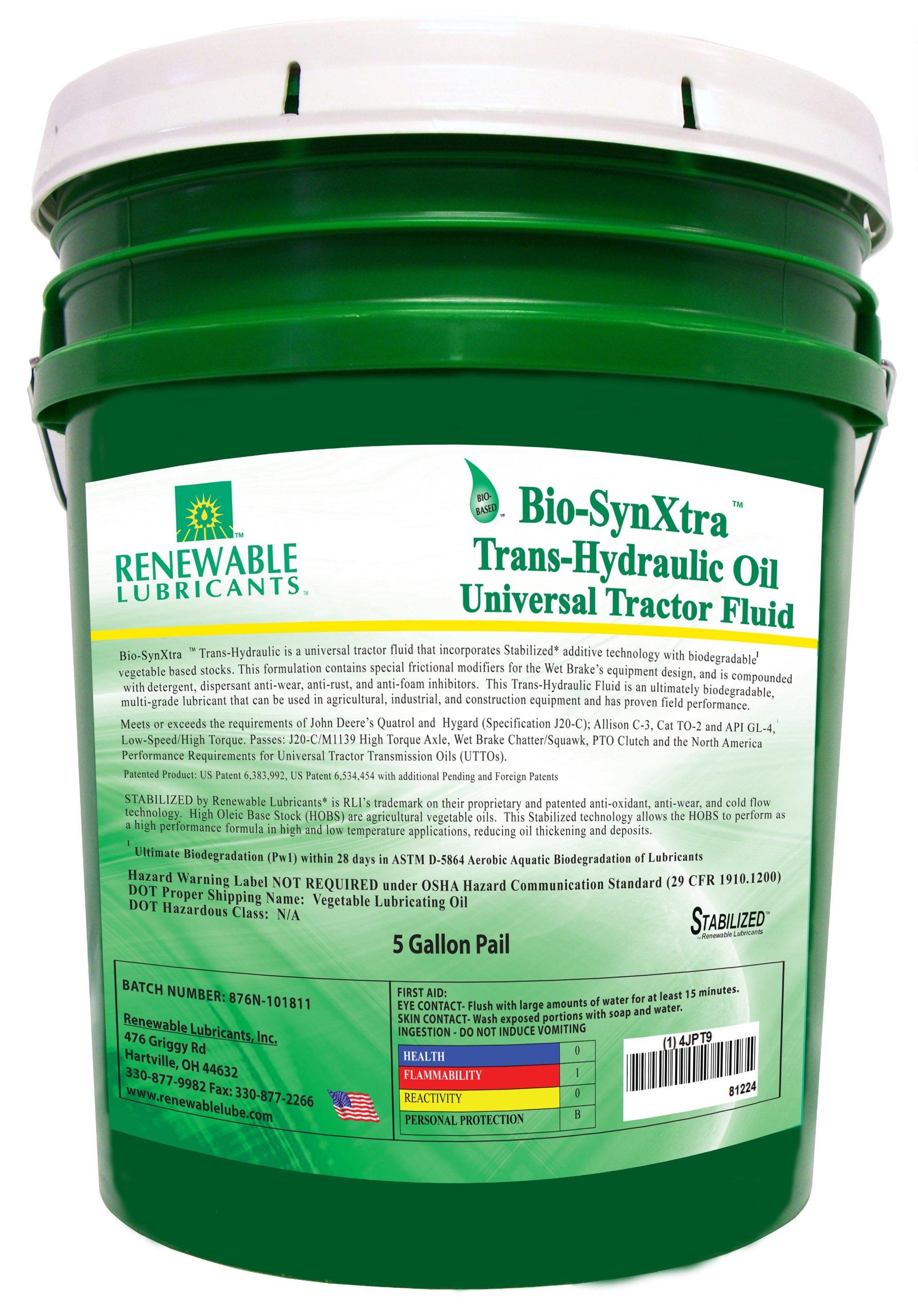 Renewable Lubricants Bio-SynXtra Trans-Hydraulic Universal Tractor Fluid, 5 Gallon Pail