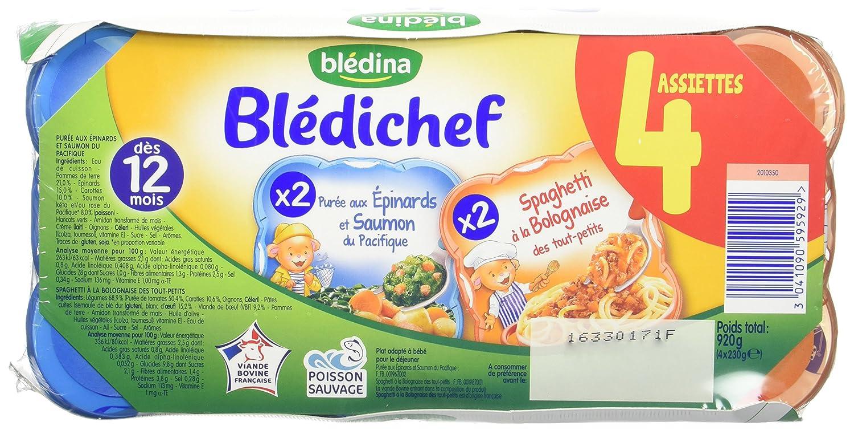 Blé dina Blé dichef 4 Assiettes Epinards Saumon/Spaghetti Bolognaise dè s 12 mois 4 x 230 g - Lot de 4 Blédina 3041090595929