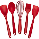 5 Piece Premium Silicone Baking Utensils Set – Spatula, Whisk, Brush, Spoon, Scraper / Baking Utensil Tool Set Ideal for Mixing, Baking & Cooking / Non-Stick Silicone Kitchen Utensils (Red)