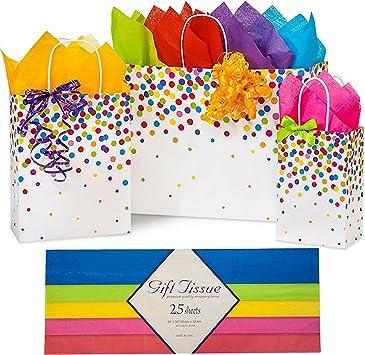 Amazon.com: Bolsas de regalo con papel de seda y asas, para ...