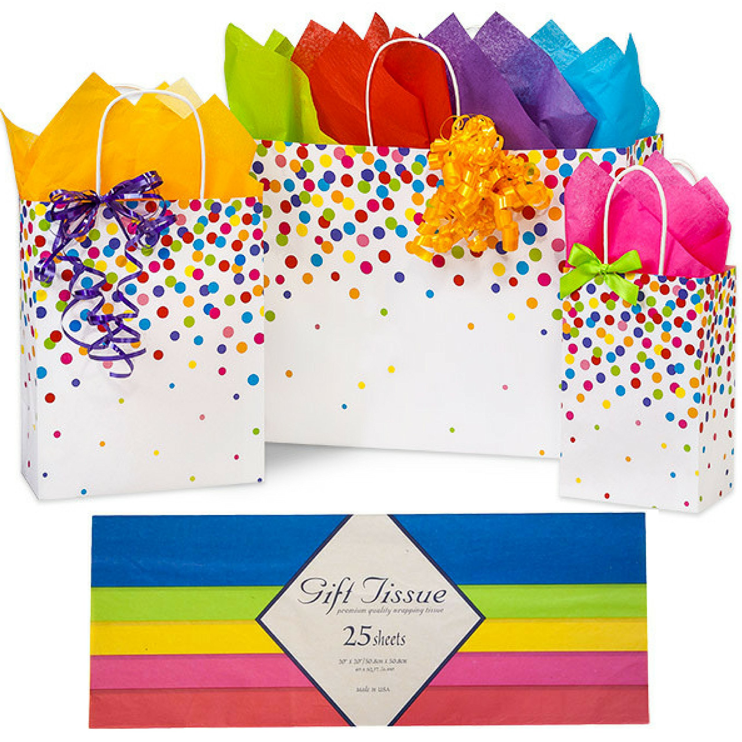 Gift Bags with Tissue Paper and Handles, for Birthday Gifts, Small Medium Large Gift Bag 3 Assorted Sizes Rainbow Confetti by Bags N More