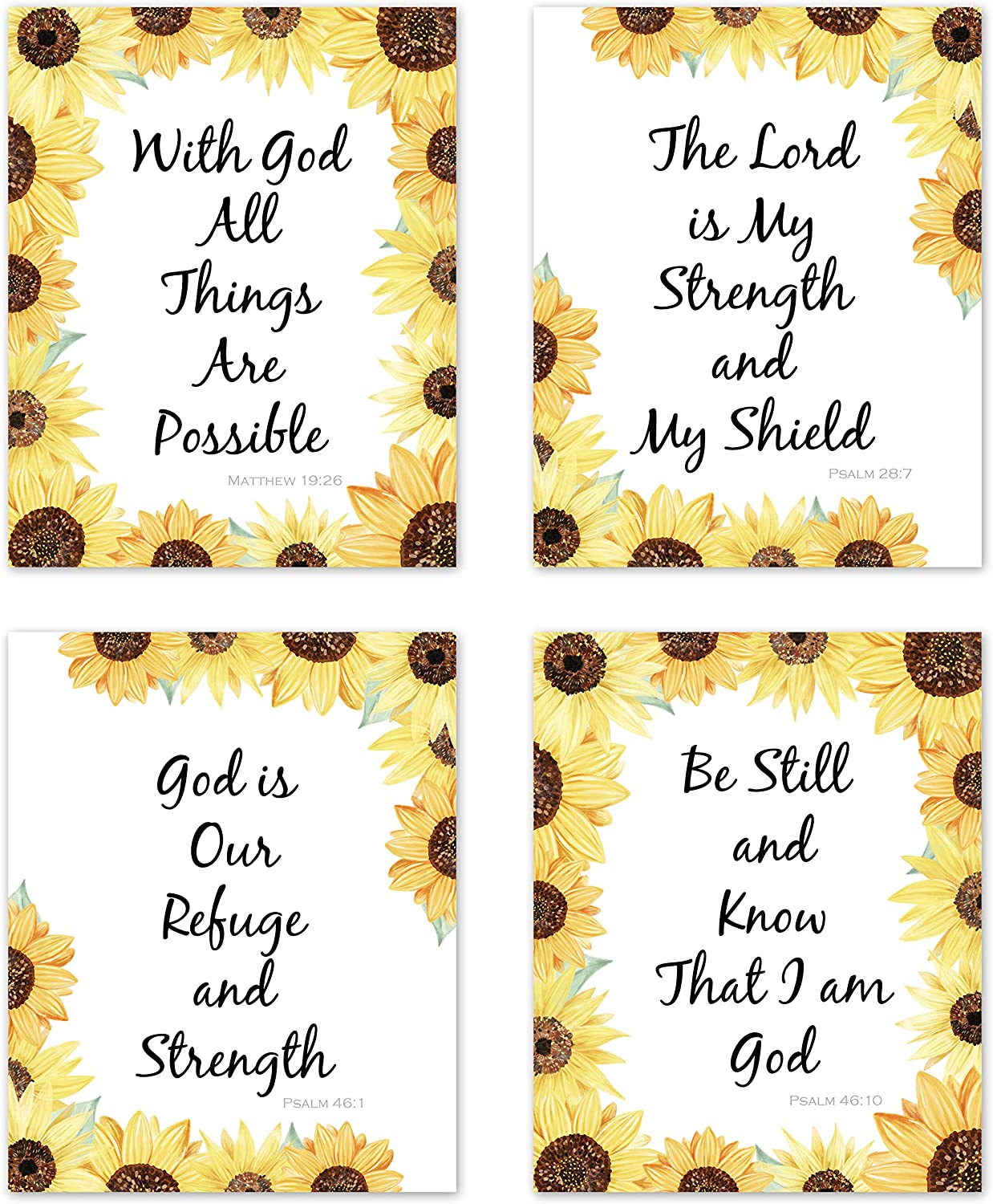 Farmhouse Yellow Sunflower Inspirational Christian Bible Verse Quotes Sayings Rustic Wall Art Posters Home Room Decor Boho Floral Flower Vintage Country Pictures Prints Decorations Scripture Religious