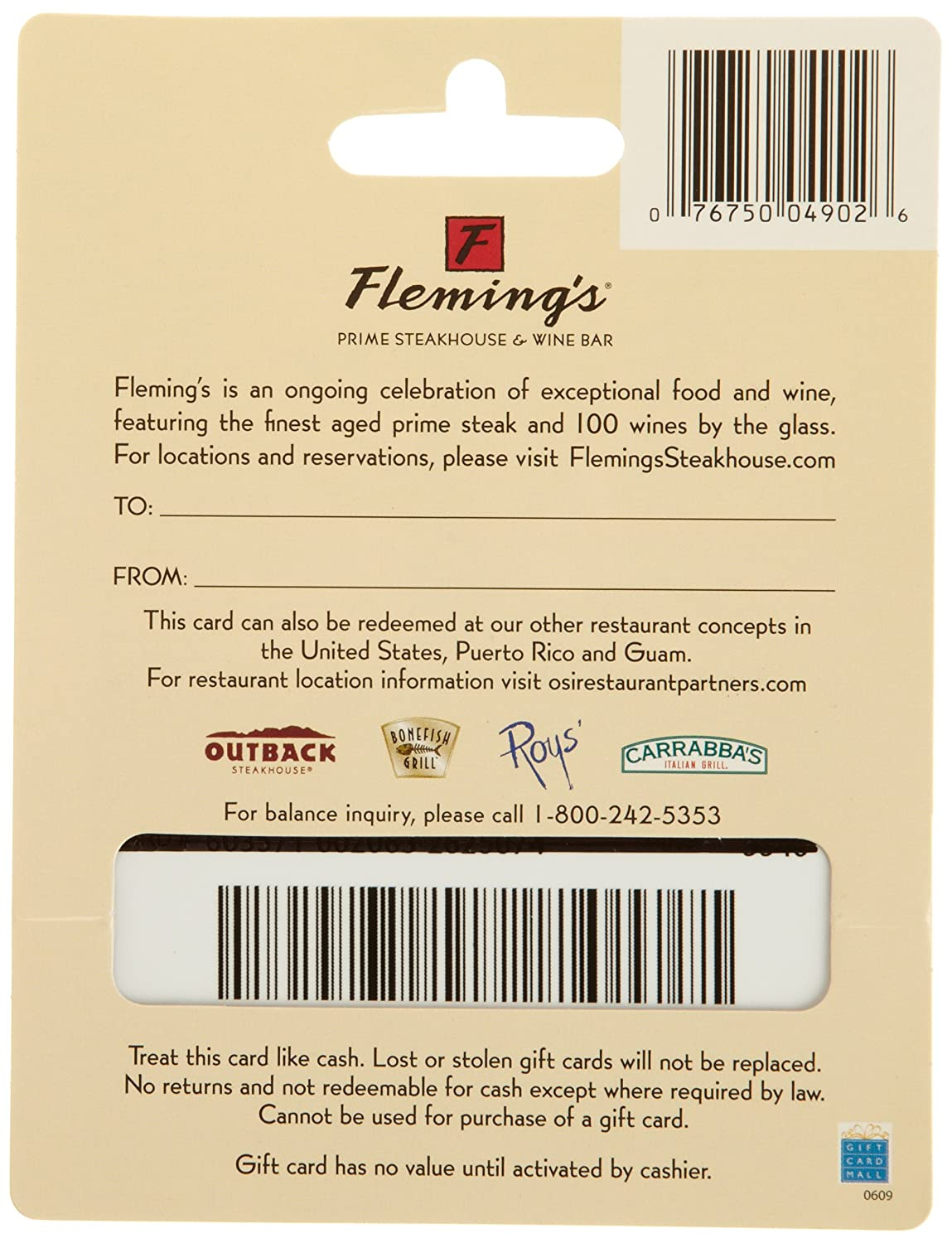 Amazon.com: Fleming's Gift Card $50: Gift Cards