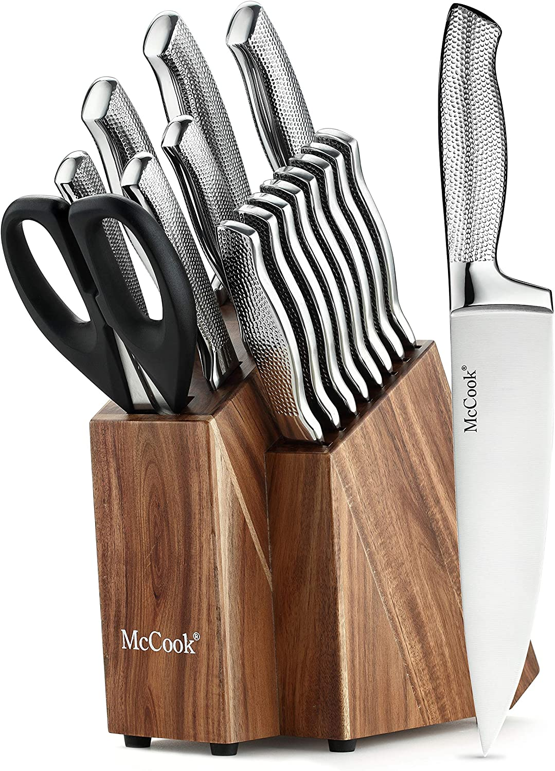 McCook MC20 Premium Knife Sets,17 Pieces Full Tang Hammered German Stainless Steel Kitchen Knife Set with Acacia Block