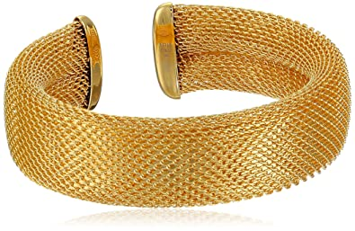 Amazoncom Ladies 18k Gold Plated Adjustable Italian Design Mesh