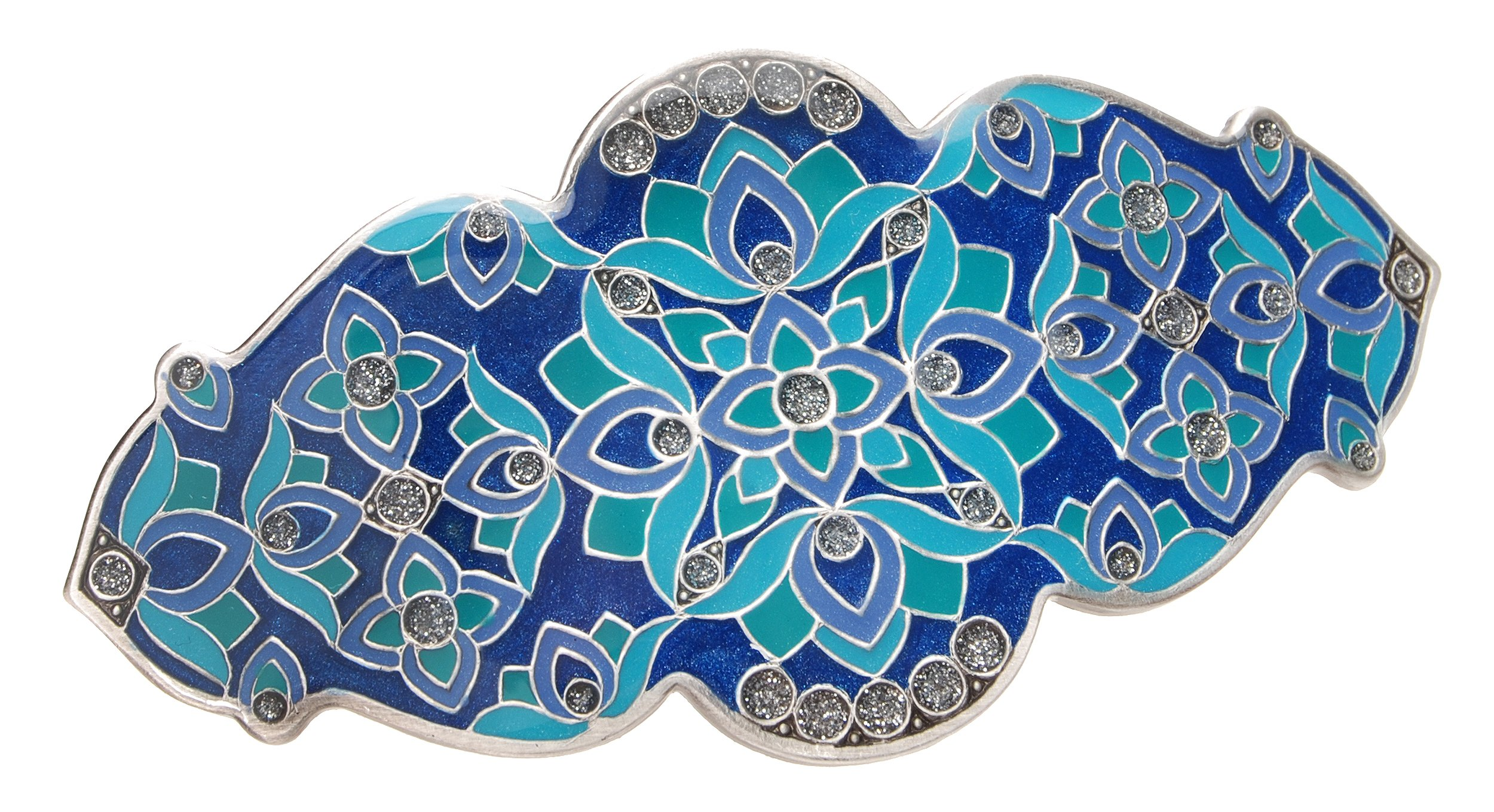 L. Erickson Floral Mosaic Barrette - Blue