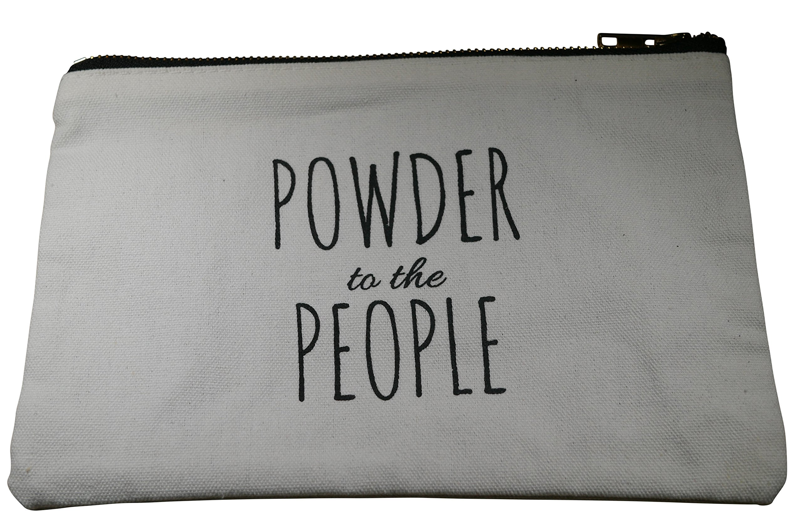 Canvas Makeup Bag, Cotton Cosmetic Pouch, Toiletry Travel Case, Printed with:''Powder to the People''